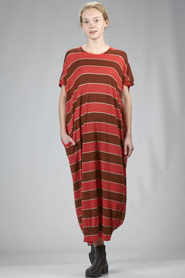 long dress in very soft knitting of cashmere and silk with horizontal stripes of three different colours  - 227