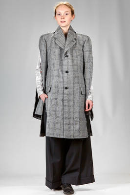 'sculpture' overcoat in 'scratchy' woollen glencheck, cupro lined  - 48