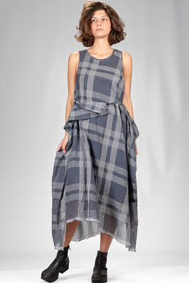 asymmetrical longuette dress in silk and cotton voile with faded micro-checks  - 161