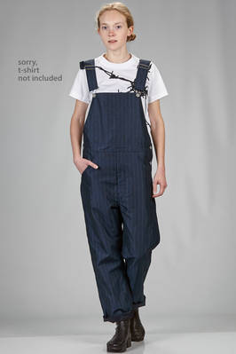 soft trousers dungaree in cotton, silk, linen and polyester pinstripe, cupro lined  - 74