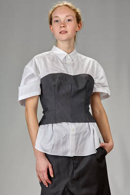 hip length shirt in cotton poplin and corset in wool gabardine, lined in cupro  - 74