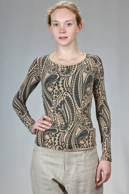 hip length t-shirt, slim fitted, in nylon and polyurethane jersey with 'tattoo' print  - 74