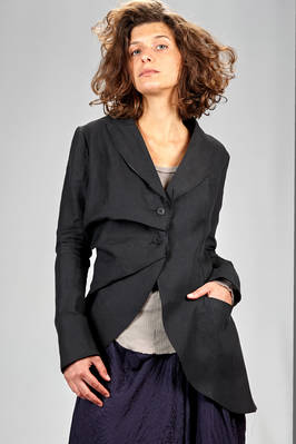 long and asymmetrical jacket in washed linen canvas, cupro lined  - 163
