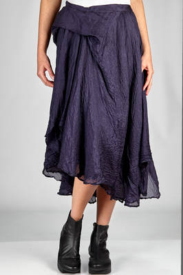 under the knee skirt in double silk voile, washed and wrinkled  - 163