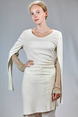 long and slim fitted sweater in ribbed silk and cotton jersey with parts in silk voile  - 365