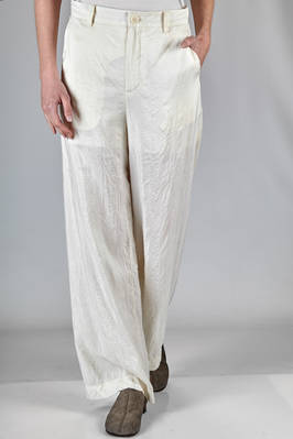 soft and straight trousers in light washed silk satin, cotton lined  - 365