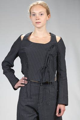 spencer short jacket in cotton canvas, modal, linen and mulberry silk with vertical stripes and braided metallic thread  - 359