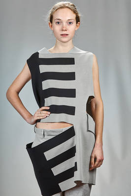long 'sculpture' waistcoat in knitted silk fabric with horizontal stripes  - 120