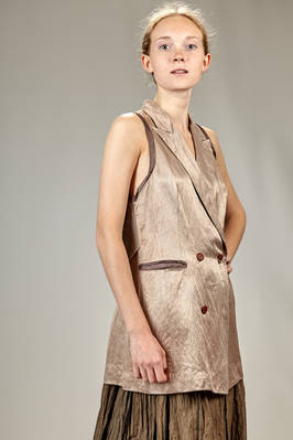 long waistcoat in linen, silk and washed cotton sateen with the borders in contrasting color silk, sleeves in silk tussah - PHAÉDO