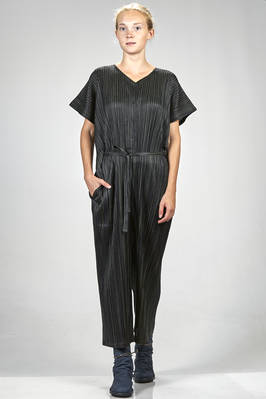 dungaree trousers polyester and cotton plissé with vertical narrow pleats and bicolour white stripes  - 111