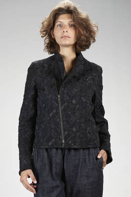 hip length biker-style jacket in nylon, polyester and polyurethane stretch fabric with wrinkled 'empty and full' textures in a tone-on-tone diamond pattern  - 47