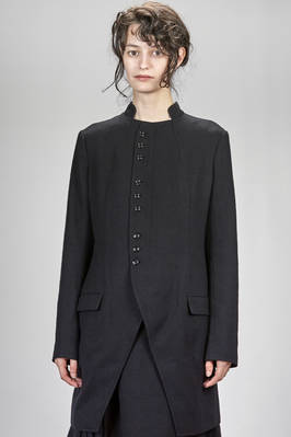 long and waisted jacket in wool twill, cupro lined  - 97