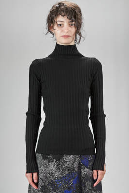 turtle neck sweater in woollen knit with flat vertical ribs  - 97