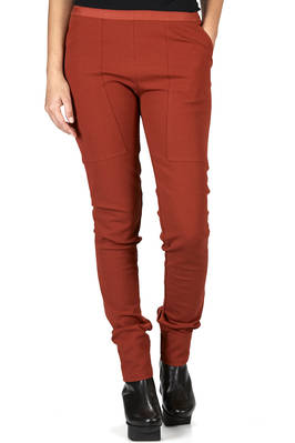 slim fitted leggings in stretch gros-grain of cotton, viscose, elastane and polyamide  - 120