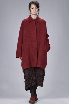 wide knee-length coat in double melange knit of wool, polyamide, yak, mohair and spandex  - 227