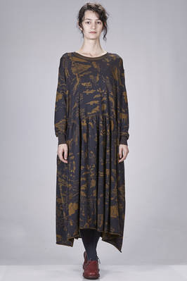 knee-length dress in stretch wool knit with inlaid abstract fantasy of flora and fauna  - 227