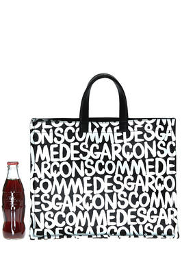 shopper bag of medium dimensions in leatherette of PVC with 'Comme des Garçons' print  - 48