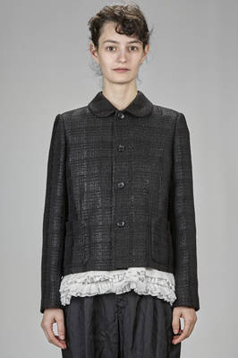 short Chanel style jacket in tone on tone check in rayon, polyester, acrylic and wool lurex  - 157