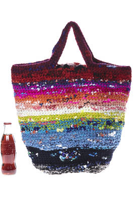 medium-sized crocheted shopper bag in multicolored wool and cotton tightly woven knit  - 195