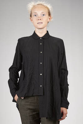 wide and asymmetrical shirt in washed new wool gauze  - 161