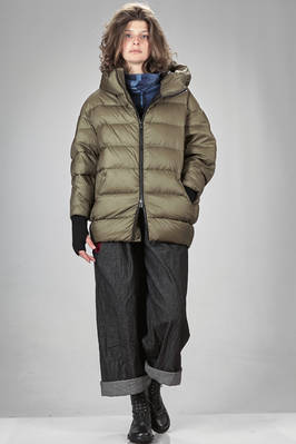 above the knee padded jacket in waterproof nylon canvas, padded with Italian down feather  - 355