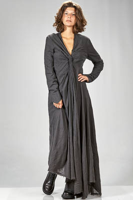 long and wide dress in washed wool and polyamide flannel, raw cut  - 163