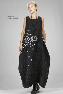 long dress in polyester and cotton canvas with a striped base and irregular scattered dots  - 364