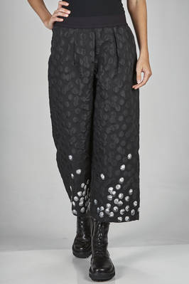 wide trousers in polyester and cotton canvas with a striped base and irregular scattered dots  - 364
