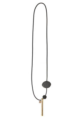 long necklace with light ingot, lichy ball and elliptical ball  - 364