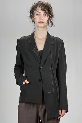 hip length asymmetrical 'couture' jacket in woollen gabardine with parts in wool, polyester, acrylic and polyamide jersey  - 97