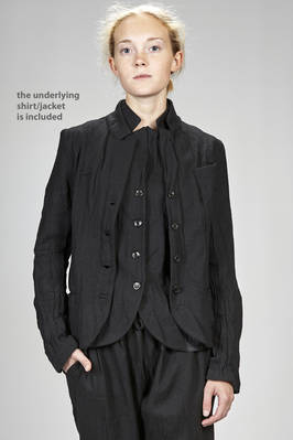 short and slim fitted jacket in washed new wool gauze  - 366