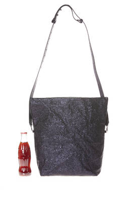 rectangular bucket bag with folding flap and shoulder strap in shiny metallic leather with lava effect  - 273