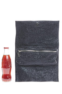 small rectangular clutch bag in shiny metallic leather with a lava effect  - 273