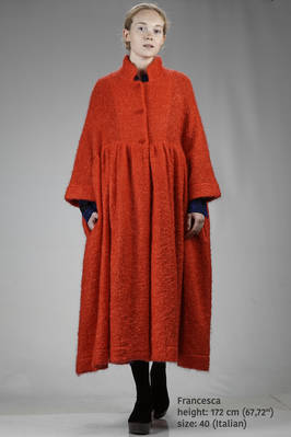 long and wide coat in mohair, wool and nylon bouclé grid  - 195