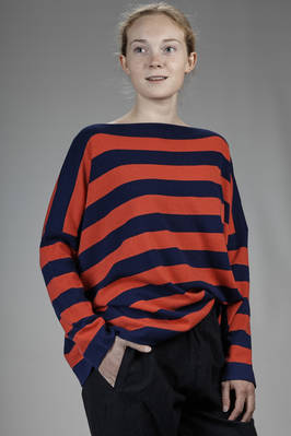 hip-length sweater in stripes cashmere stockinette stitch  - 195