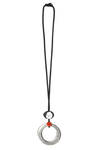 long necklace with large irregular silver ring and lichy ball - MARIA CALDERARA